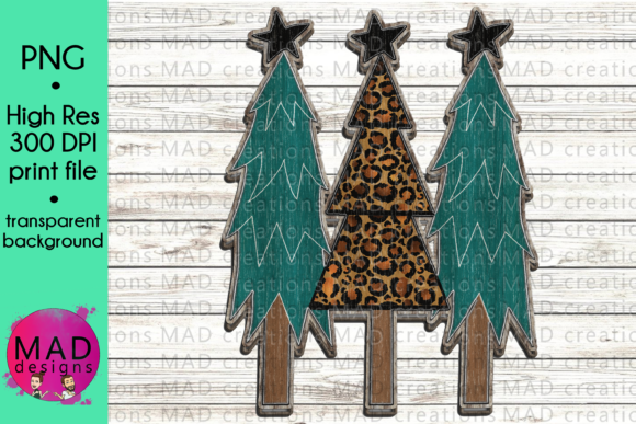 Wooden Christmas Trees - Leopard Print Graphic Crafts By maddesigns718