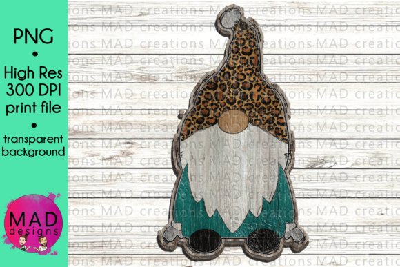 Wooden Gnome - Leopard Print and Teal Graphic Crafts By maddesigns718