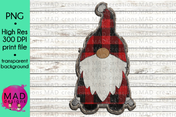 Wooden Gnome - Red Buffalo Plaid Graphic By maddesigns718