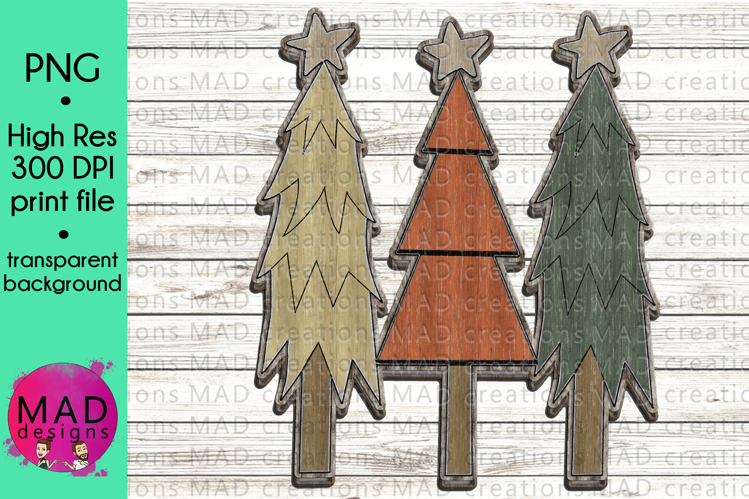 Download Free Wooden Christmas Trees Rustic Colors Graphic By Maddesigns718 for Cricut Explore, Silhouette and other cutting machines.