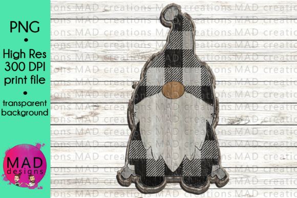 Wooden Gnome - White Buffalo Plaid Graphic Crafts By maddesigns718 - Image 1