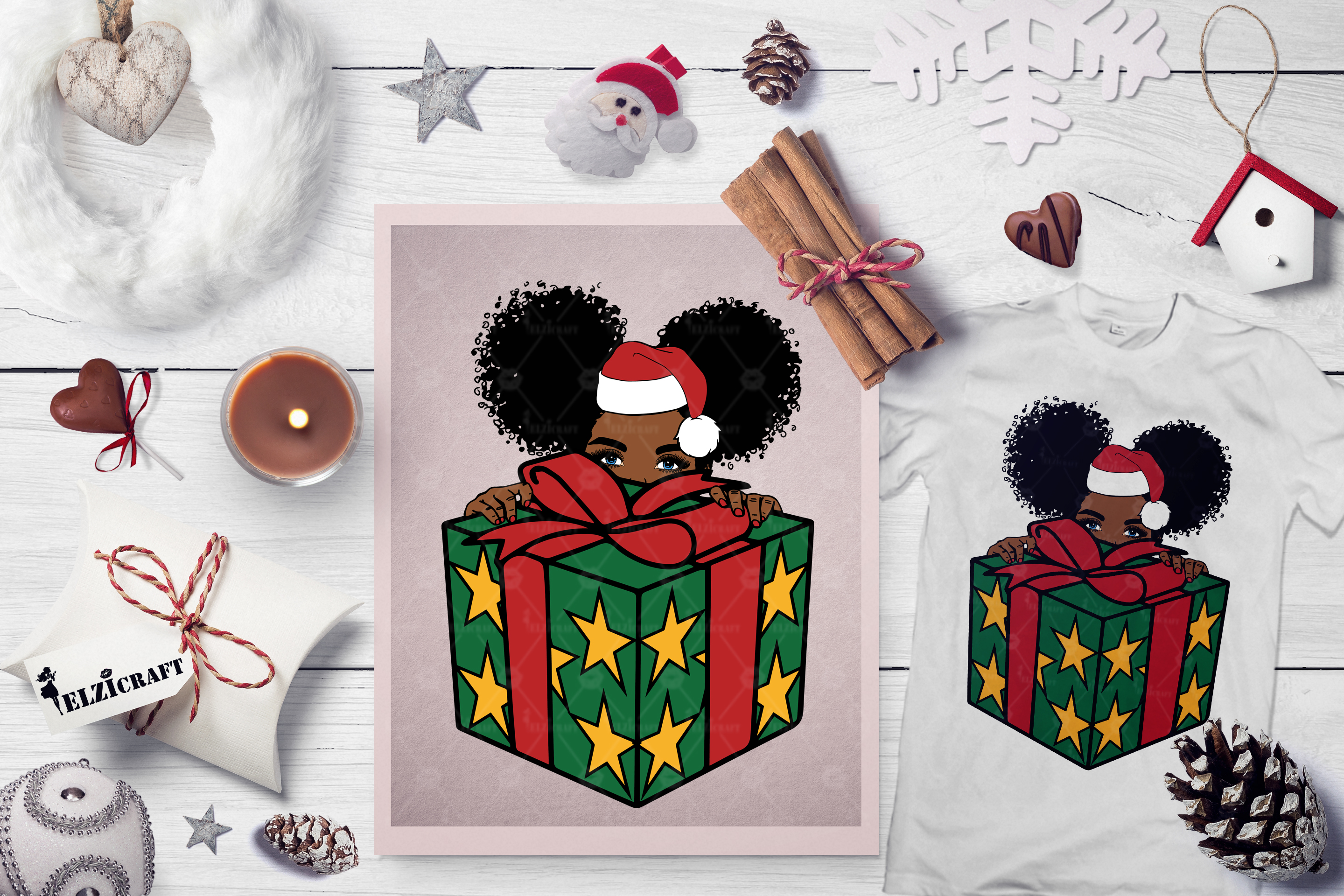 Download Free Peek A Boo Peeking Afro Girl Present Graphic By Elzicraft for Cricut Explore, Silhouette and other cutting machines.