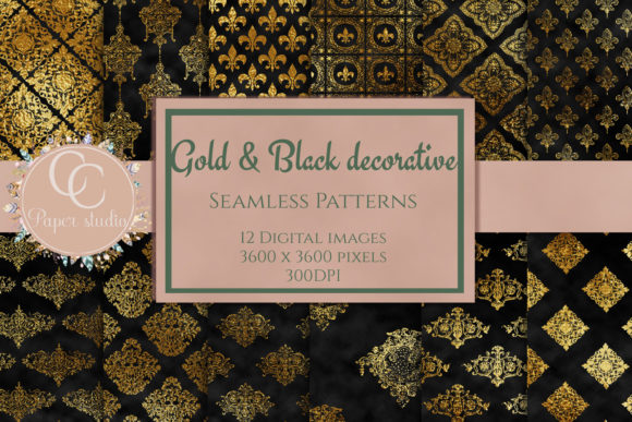 Print on Demand: Gold and Black Damask Pattern Graphic Patterns By CC Paper Studio - Image 1