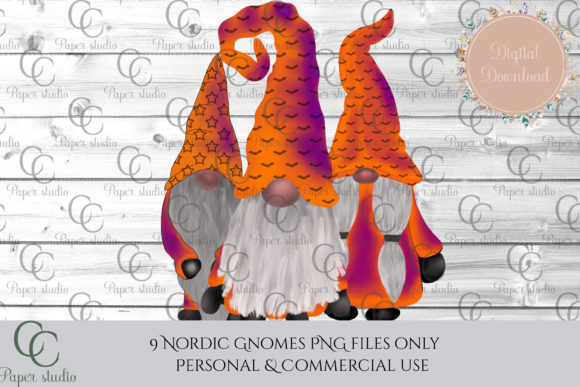 Print on Demand: Halloween Tomte Gnomes Graphic Illustrations By CC Paper Studio - Image 4
