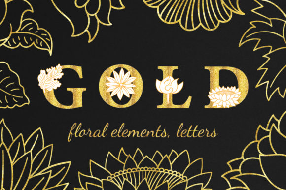 Print on Demand: Gold Graphic Objects By annamagenta