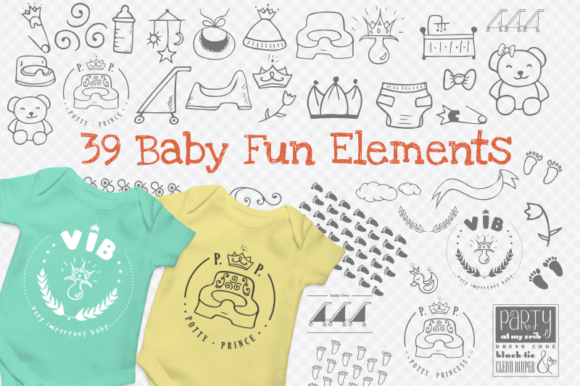 Print on Demand: Baby Fun Graphics with 39 Elements Graphic Illustrations By artsbynaty