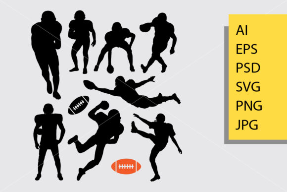 American Football Silhouette Graphic Illustrations By Cove703