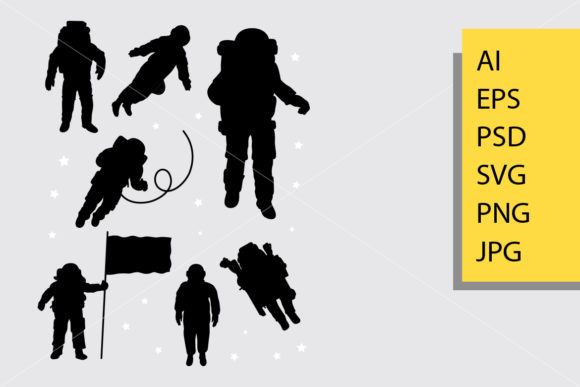 Astronaut Silhouette Graphic Illustrations By Cove703