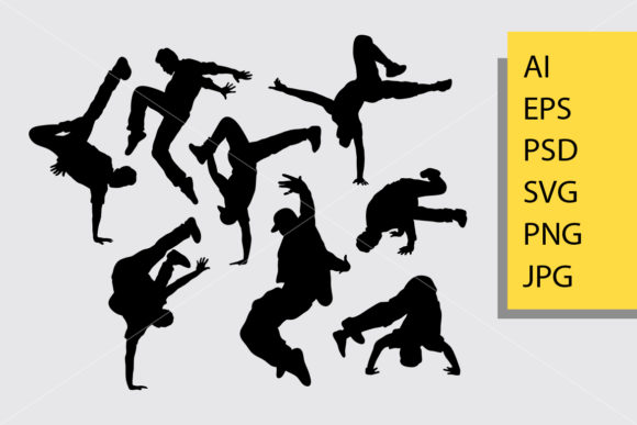 Download Free Breakdance Silhouette Graphic By Cove703 Creative Fabrica for Cricut Explore, Silhouette and other cutting machines.