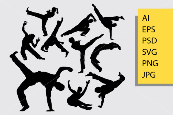 Capoeira Silhouette Graphic Illustrations By Cove703 - Image 1