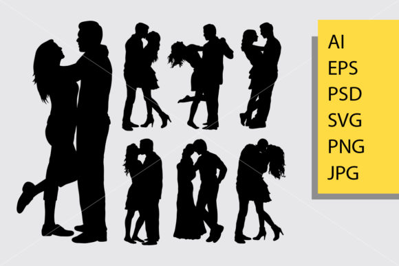 Couple Loving Valentines Silhouette Graphic Illustrations By Cove703 - Image 1