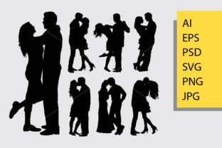 Couple Loving Valentines Silhouette Graphic By Cove703