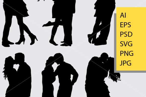 Couple Loving Valentines Silhouette Graphic Illustrations By Cove703 - Image 2