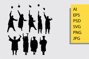 Download Free Graduation Silhouette Graphic By Cove703 Creative Fabrica for Cricut Explore, Silhouette and other cutting machines.