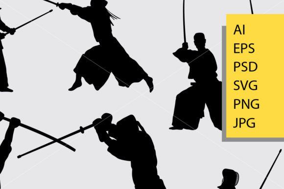 Download Free Kendo Samurai Sport Silhouette Graphic By Cove703 Creative Fabrica SVG Cut Files