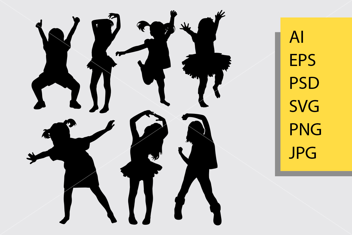 Download Free Kid Dancing Silhouette Graphic By Cove703 Creative Fabrica for Cricut Explore, Silhouette and other cutting machines.