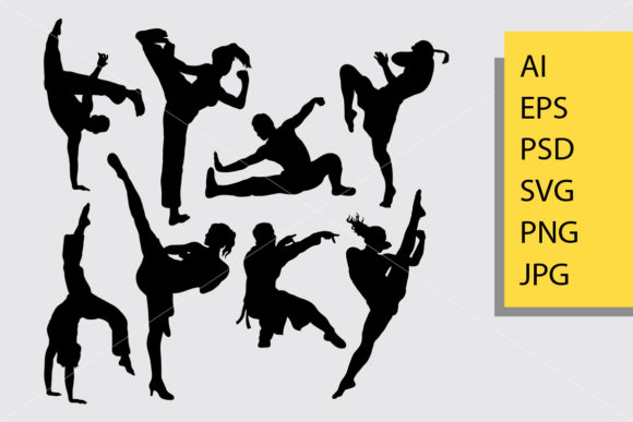 Kungfu Martial Art Silhouette Graphic Illustrations By Cove703