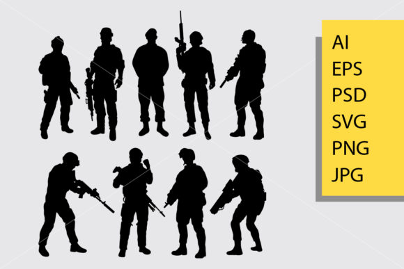 Download Free Army And Police 4 Silhouette Graphic By Cove703 Creative Fabrica for Cricut Explore, Silhouette and other cutting machines.