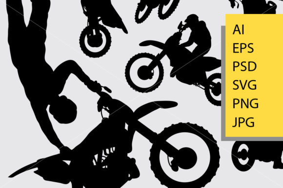Download Free Motocross Silhouette Graphic By Cove703 Creative Fabrica for Cricut Explore, Silhouette and other cutting machines.