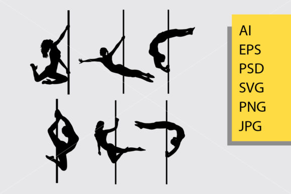 Pole Dance Silhouette Graphic Illustrations By Cove703