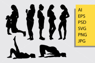 Pregnant Women Silhouette Graphic Illustrations By Cove703