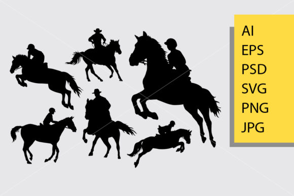 Riding Horse Silhouette Graphic Illustrations By Cove703