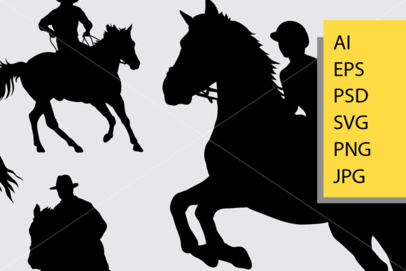 Download Free Riding Horse Silhouette Graphic By Cove703 Creative Fabrica for Cricut Explore, Silhouette and other cutting machines.
