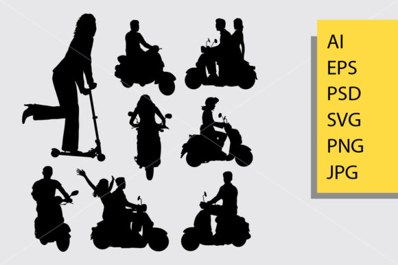 Download Free Riding Scooter Silhouette Graphic By Cove703 Creative Fabrica for Cricut Explore, Silhouette and other cutting machines.