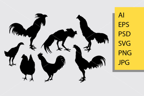Rooster 2 Silhouette Graphic By Cove703