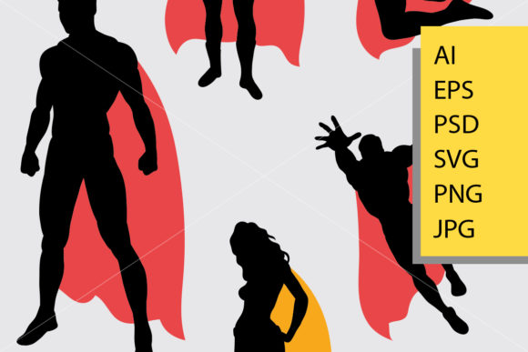 Download Free Male And Female Superhero Silhouette Graphic By Cove703 for Cricut Explore, Silhouette and other cutting machines.