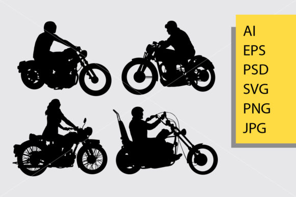 Riding Motorcycle Silhouette Graphic Illustrations By Cove703 - Image 1