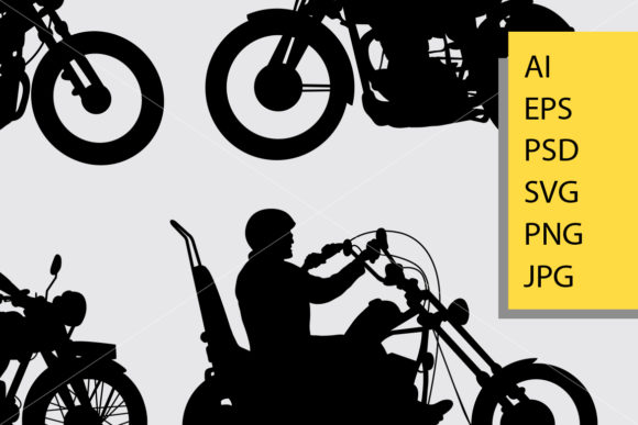 Riding Motorcycle Silhouette Graphic Illustrations By Cove703 - Image 2