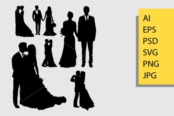Wedding Silhouette Graphic Illustrations By Cove703
