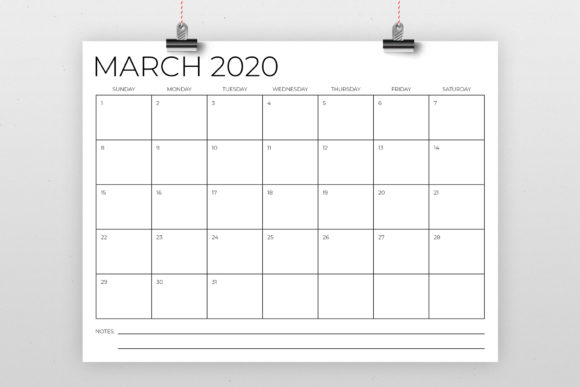 8.5 X 11 Inch Minimal 2020 Calendar Graphic By Running With Foxes Image 2