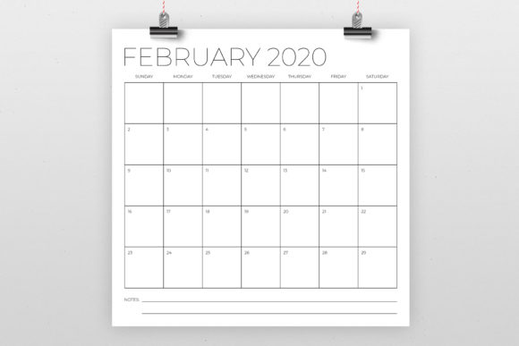 12 X 12 Inch Minimal 2020 Calendar Graphic By Running With Foxes Image 2