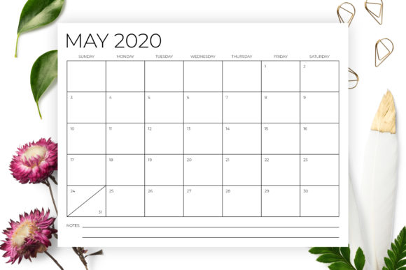 8.5 X 11 Inch Minimal 2020 Calendar Graphic By Running With Foxes Image 3