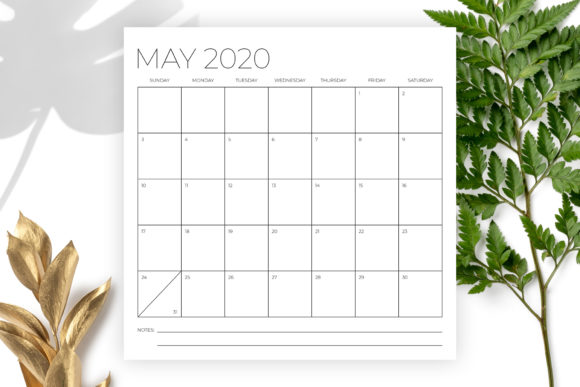 12 X 12 Inch Minimal 2020 Calendar Graphic By Running With Foxes Image 3