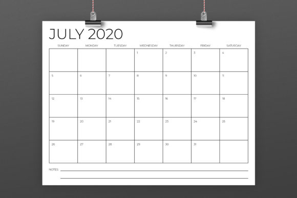 8.5 X 11 Inch Minimal 2020 Calendar Graphic By Running With Foxes Image 4