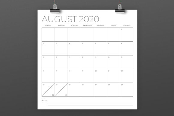 12 X 12 Inch Minimal 2020 Calendar Graphic By Running With Foxes Image 4