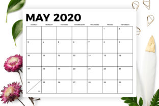 Print on Demand: 8.5 X 11 Inch Bold 2020 Calendar Graphic Print Templates By Running With Foxes 5