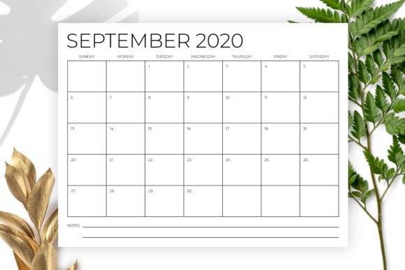 8.5 X 11 Inch Minimal 2020 Calendar Graphic By Running With Foxes Image 5