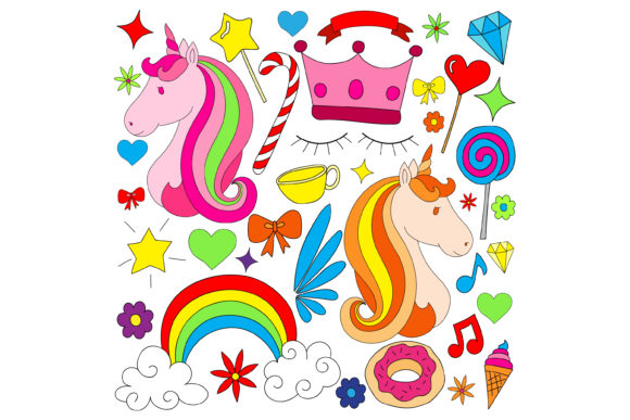 Print on Demand: Unicorn Doodle Graphic Graphic Templates By sabavector - Image 1