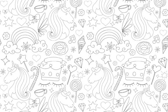 Print on Demand: Unicorn Seamless Pattern Gráfico Moldes Por sabavector