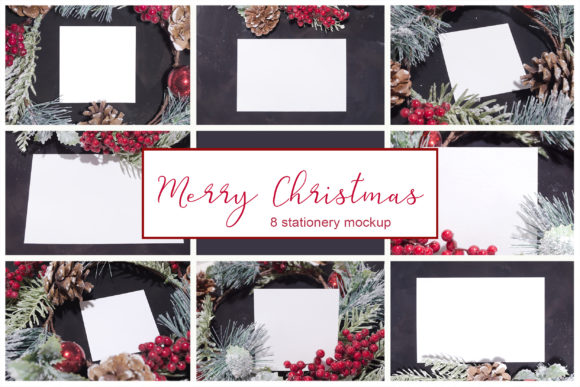 Print on Demand: Merry Christmas. 8 Cards Mockups Graphic Product Mockups By Natalia Arkusha