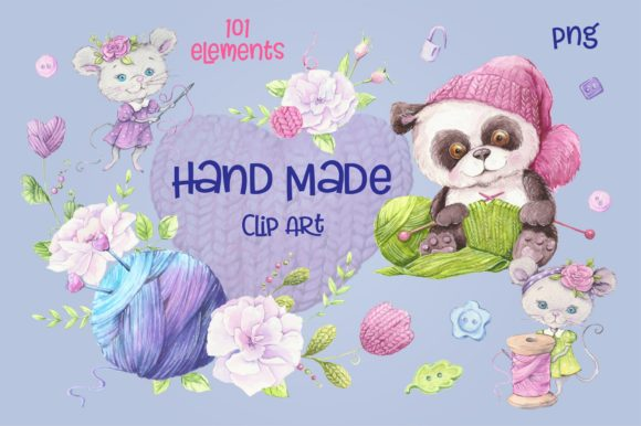 Hand Made – Watercolor  Clip Art Graphic By nicjulia