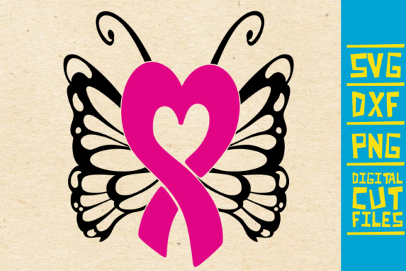 Download Free Swirly Butterfly Breast Cancer Pink Graphic By for Cricut Explore, Silhouette and other cutting machines.