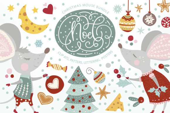 Print on Demand: Noel Christmas Mouse Bundle Graphic Illustrations By Red Ink - Image 1