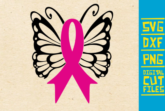 Download Free Swirly Butterfly Breast Cancer Pink Graphic By Svgyeahyouknowme for Cricut Explore, Silhouette and other cutting machines.