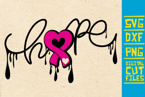 Download Free Hope Ribbon Svg Breast Cancer Dripping Graphic By for Cricut Explore, Silhouette and other cutting machines.