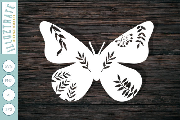 Print on Demand: Butterfly SVG Cut File for Paper Cutting Graphic Crafts By illuztrate